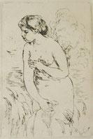 水浴する女-ルノワール-オリジナル版画-エッチング